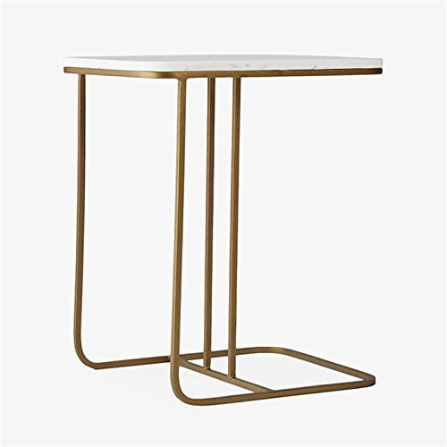 BLLXMX Coffee Tables End Tables Modern Sofa Side C-Table with Gold Metal Base and Man-Made Marble Top White