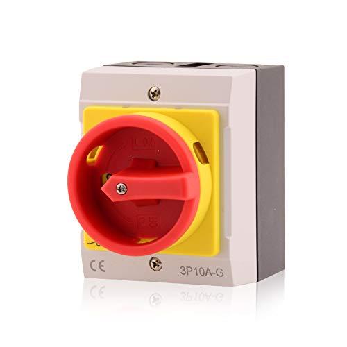 Hauptschalter Leistungsschalter 10A, IP 65, 3-polig im Gehäuse, Drehschalter für alle industriellen Anforderungen…