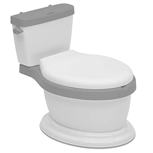 Delta Children Kid Size Toddler Potty for Boys & Girls - Realistic Potty Training Toilet Looks & Feels Like an Adult Toilet, White/Grey
