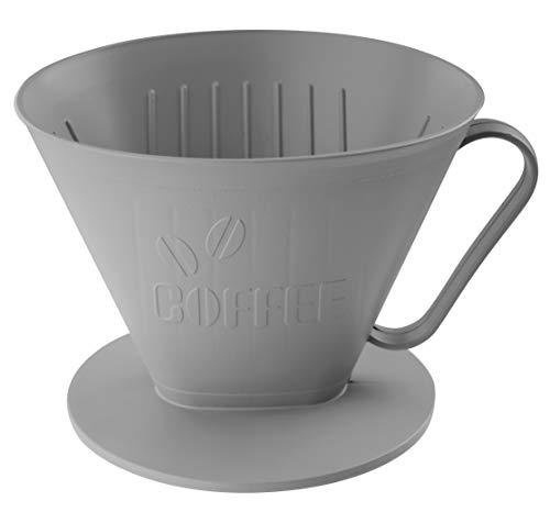 FACKELMANN Filterbehälter Nr. 4 ECO, umweltfreundlicher Filterhalter für frischen Kaffee, nachhaltiger Kaffeefilter für bis zu 4 Tassen, hochwertiger Handfilter (Farbe: Lichtgrau)