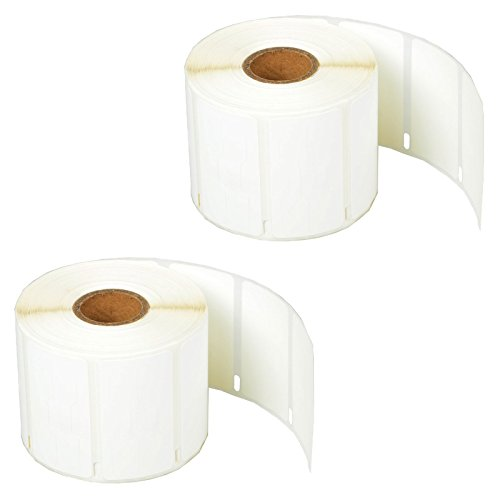"SuperInk [2 Roll, 1500 Labels/Roll] White Self-Adhesive Jewelry Price Tag 2-up Labels Barbell Style Compatible for Dymo 30299 3/8"" x 3/4"" use in LabelWriter 300 310 450 Duo 4XL Printer,BPA Free"
