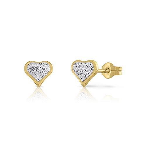 Pendientes oro bebe niña mujer 18 kilates modelo corazon con piedras engastadas y con cierre de presion, medida de la joya 6 milímetros.