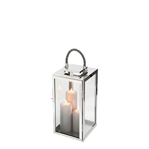 Fink Sevilla Laterne, Glas, Silber, 24cm