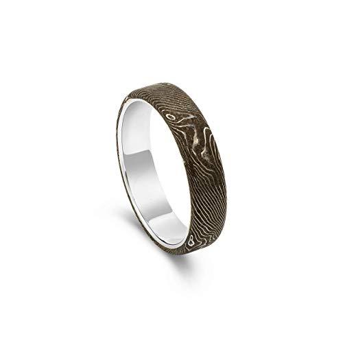 Mokume-Gane Silberring für Damen | Handmade Schmuck | Unikat Ring Größe 54,5/17,3