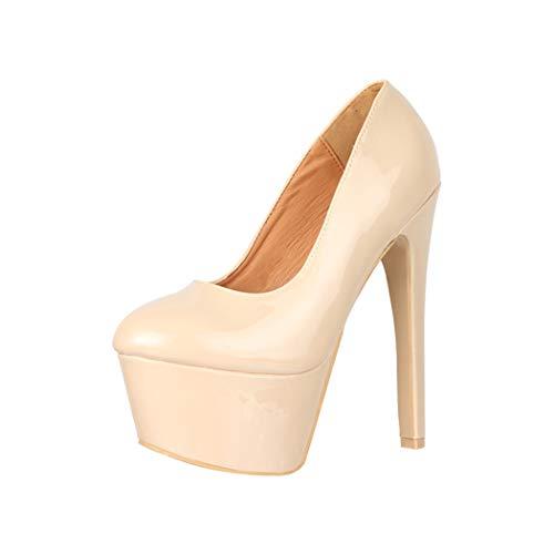 Elara Zapato de Tacón Alto Mujer Plataforma Chunkyrayan Beige QM007 Beige-39