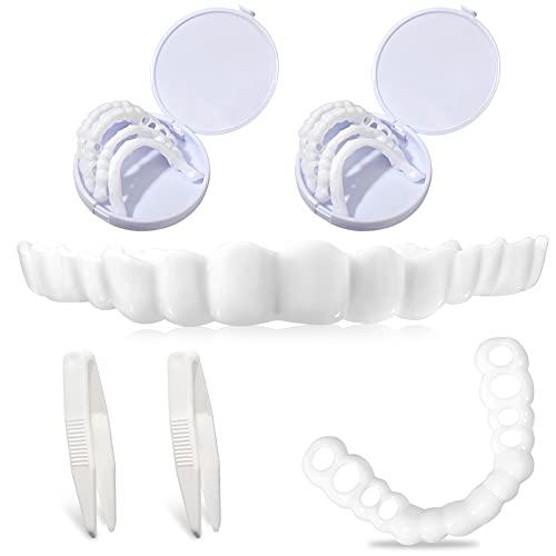 4 Pezzi Impiallacciature Cosmetiche Denti Superiori Denti per Protesi Provvisorie Denti Finti Istantanei Faccette Finte Denti per Uomini Donne con Denti Difettosi