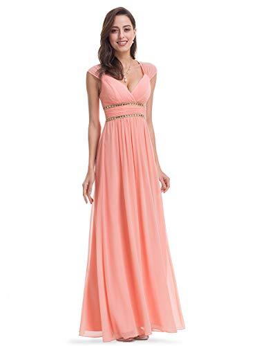 Ever-Pretty Damen Abendkleid A-Linie Partykleid V Ausschnitt Brautjungfer rückenfrei lang Pfirsich 42