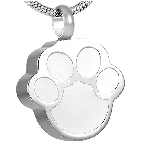 Wxcvz Ceniza Collar Colgante Collar De Urna De Cremación De Pata De Mascota para Perro Y Gato para Cenicero, Recuerdo De Cenizas, Joyería Conmemorativa De Pedant De Acero Inoxidable