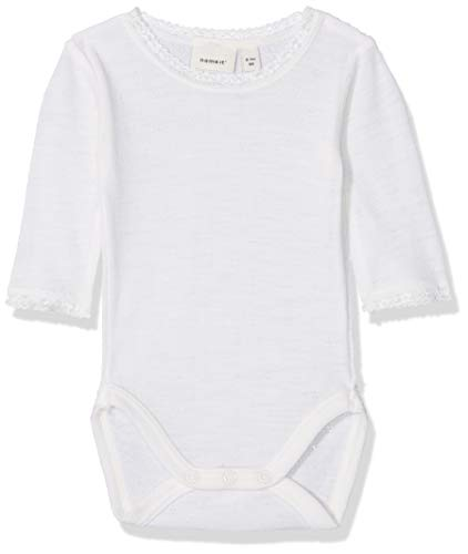 NAME IT NAME IT Baby-Mädchen NBFWANG Wool Needle LS Body NOOS Strampler, Weiß (Snow White Detail:Solid), 50