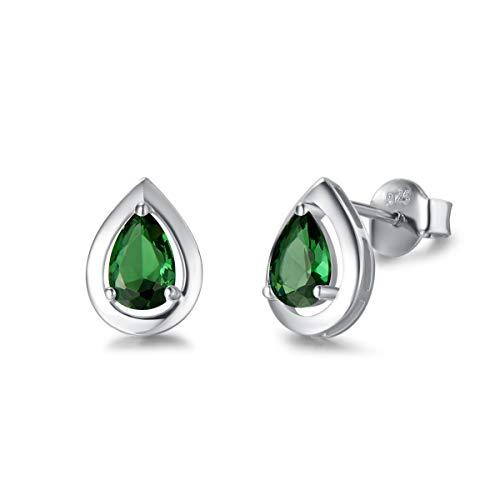 FANCIME May Birthstone Earrings Pear Shape Created Emerald Stud Earrings Jewelry for Women Girls Her