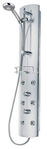 Schulte D9670 41 Duschsystem alu-chromoptik mit Massagedüsen und Glasablage, 38°C Sicherheits-Thermostat, Duschpaneel mit Handbrause
