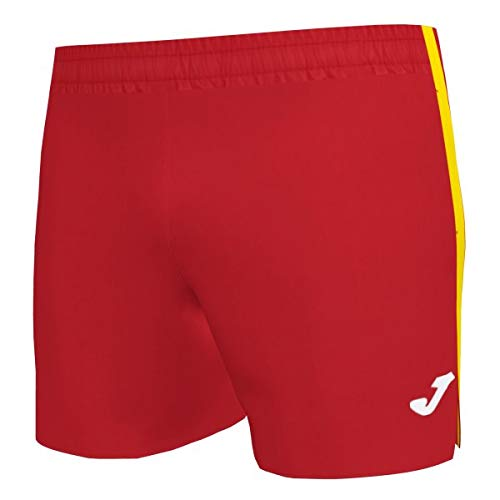 Joma Elite Malla Short Running, Hombres, Rojo-Amarillo, XL