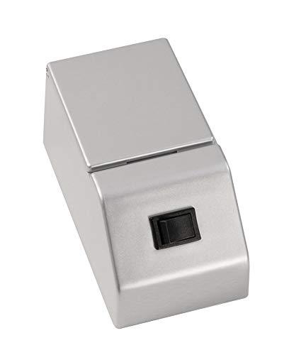 FACKELMANN E-Box für Spiegelschrank Finn/Schalter und Steckdose mit Klappe/Maße (B x H x T): ca. 6,5 x 6 x 12 cm/hochwertige E-Box fürs Badezimmer und WC/Farbe: Silber/Breite: 6,5 cm
