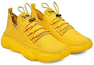 KT Traders Solid Reguler Mesh Lace-Up On Style for Easy Sport Shoes (KT Traders-95-Yellow-7)