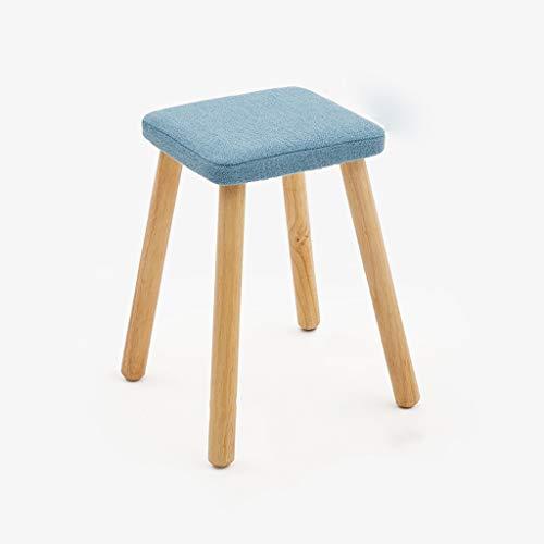 Esperanza Kruk Verwijderbaar Wasbaar Massief Hout Vierkante Kruk met 4 poten, Woonkamer/keuken/slaapkamer/studie (blauw)