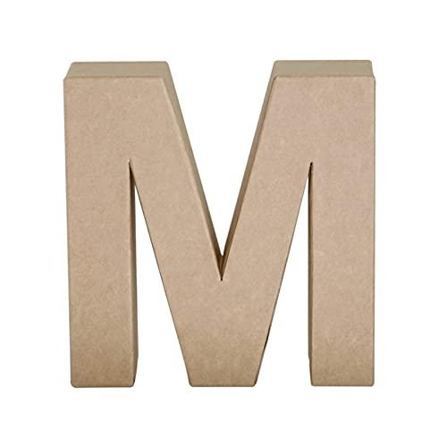 Papier Mache Letter M, Brown