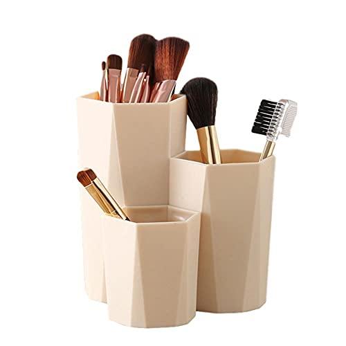 3 celosías de maquillaje cepillo caja de almacenamiento organizador de escritorio mesa de tocador de baño almacenamiento de cejas lápiz de belleza huevo organizador titular de bronce