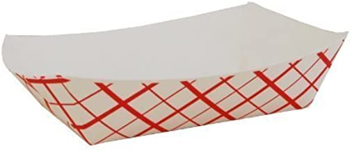 CulinWare Paper Food Tray, Paperboard, for Carnivals, Fairs, Festivals, and Picnics. Holds Nachos, Fries, Hot Corn Dogs, and more, 1lb, 250 Pack,Red and white