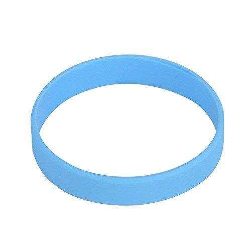 25pcs/juego blanco de silicona pulsera de goma pulseras, azul celeste