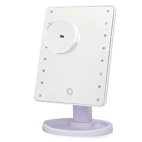 Miroir de maquillage LIHY- Miroir Lumineux de Bureau de beauté, luminosité d'ajustement Intelligent 16 lumières / 22 lumières de lumière LED Miroir de beauté 10 Fois, Blanc
