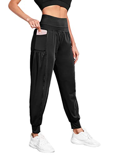 Romwe Women's Wide Band Elastic Waist Sweatpants Athletic Workout Jogger Pants with Pocket Black S