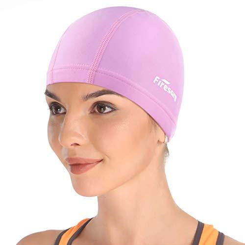 Firesara Lycra Gorra de Baño Gorra de natación Anti-Tear Cómodo Sin Deslizamiento para Los Hombres Mujer Largo Cabello Corto Adulto Muchachos Chicas-Rosa