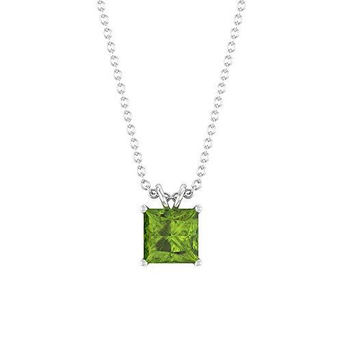 Colgante de peridoto, colgante de corte princesa solitario, collar con colgante de oro (1,15 quilates, peridoto de 8 mm) verde