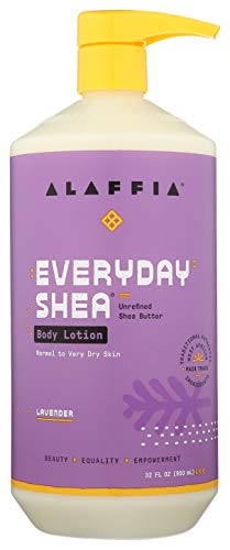 Alaffia EveryDay Shea Body Lotion - Normal to Very Dry Skin, Moisturizing Support for Hydrated, Soft, and Supple Skin with Shea Butter and Lemongrass, Fair Trade, Lavender, 32 Ounces