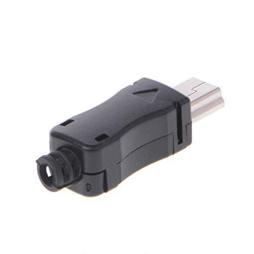 wji (10 Juegos) Mini Conector Macho USB, Enchufe 2.0 de 5 Pines, con Tapa de plástico y Conector Trasero