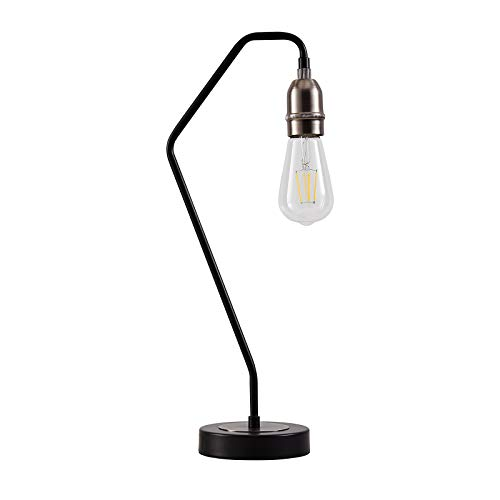 Indoor Table Lamp Black & Matt Silver E26 Socket Reading Desk Light Fixture for Living Room Bedroom