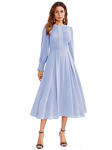 Milumia Women's Elegant Frilled Long Sleeve Pleated Fit and Flare Dress Light Blue Medium