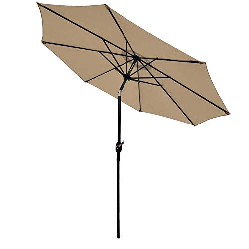 Best patio umbrella for wind - Sunnyglade 9' Patio Umbrella Outdoor Table Umbrella with 8 Sturdy Ribs (Tan)