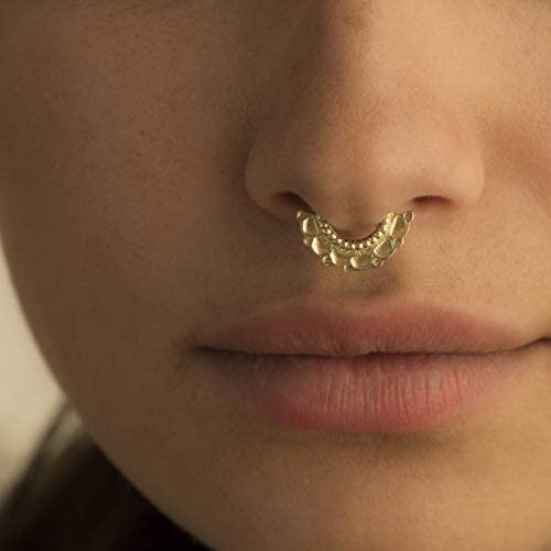 Gold Plated Septum Jewelry Unique Indian Tribal Ethnic Style Nose Hoop Piercing Real Septum product image