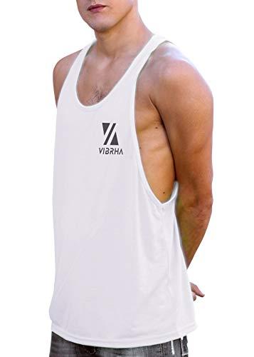 Vibrha Camiseta Deportiva Sin Mangas Flúor De Hombre - Camiseta De Tirantes Bodybuilding Gym Fitness (Blanco, M)