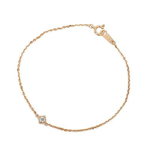 (メザンジュ)mesanges 「tarte-タルト-」 天然ダイヤ0.1ct × K18ピンクゴールド 一粒 スクエアブレスレット(K18ピンクゴールド, 20cm)
