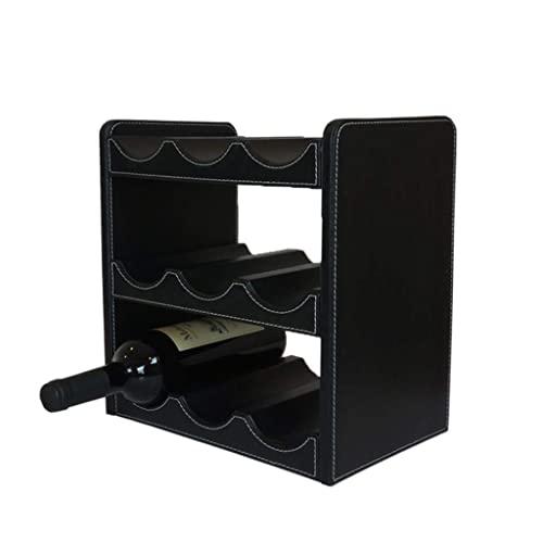 IVQAPP Wine Rack Leather European Household Wine Display Rack Wine Cabinet Lattice Storage Rack Living Room Dining Room Decoration Little (Size : 30.5 * 20 * 29cm)