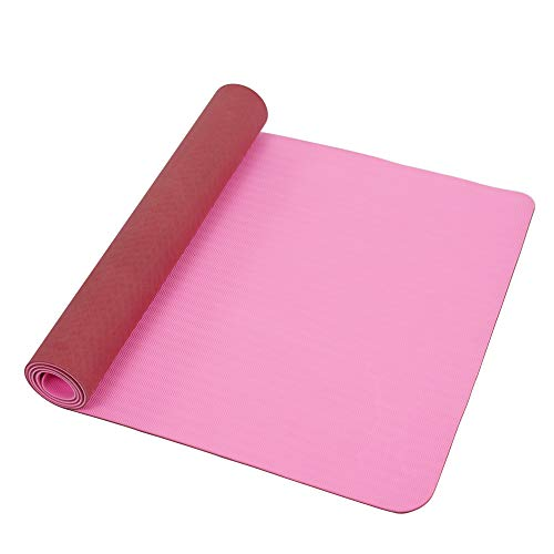 Sunny Health & Fitness Yoga Mat Extra Wide and Length 30' x 72', Non-slip lightweight TPE Dual Color, Durable Cushion at 6mm thickness, Pink/Marsala