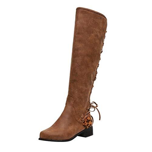 Amlaiworld Mujeres Vintage Botas largas Vendaje Botas de Invierno Moda para Mujer Leopard Cross Tie Zipper Botas largas Botines Zapatos Casuales