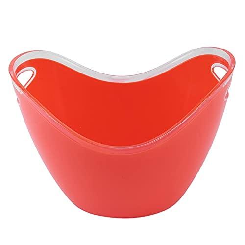 Cubo de Champagne Bar Herramientas Plástico Transparente Jardín Super Big Big Bucket Bucket Fácil de Cargar (Color : Red, Size : One Size)