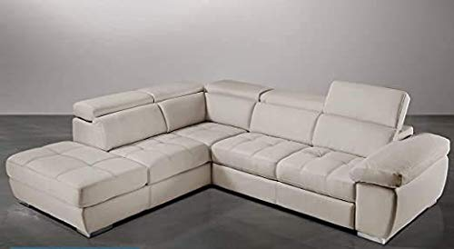 Dafne Italian Design - Sofá cama esquinero de 3 plazas con chaise longue a la izquierda, piel sintética Burro (285 x 245 x 97 cm)