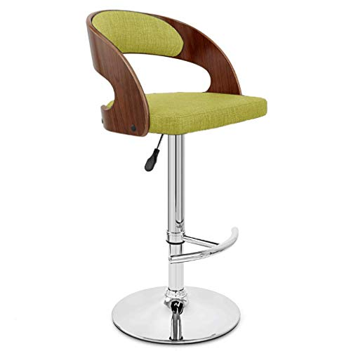 DYY Mode Placage Bar Chaise en Forme de T Pied Pied en Bois Massif Retour Tissu Art Coussin De Siège Peut Soulever Rotation Bar Bar Café Haut Tabouret (Couleur : F)