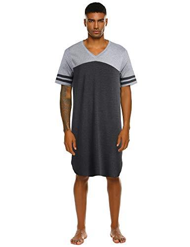 Nachthemd Herren Kurzarm Schlafanzug Nachtwäsche V-Ausschnitt Kurz Männer nachthemden Knielang Pyjama Oberteil Schlafshirt für Männer Sommer L