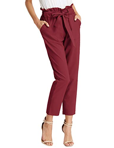 GRACE KARIN High Waist Gypsy Comfy Stretch 70s Pencil Pants Solid with Bow Tie Wine Red S