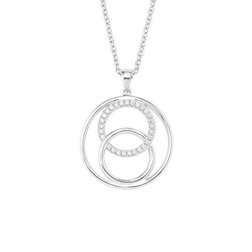 s.Oliver Kette mit Anhänger für Damen, Sterling Silber 925, Zirkonia Kreis Kreis