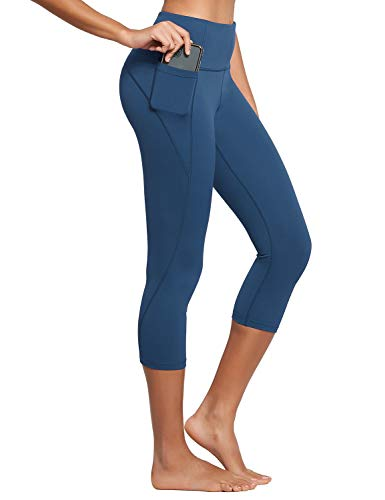 BALEAF Women's High Waisted Yoga Capris w Side Pockets Cropped Leggings Workout Capris Pants Denim Blue L