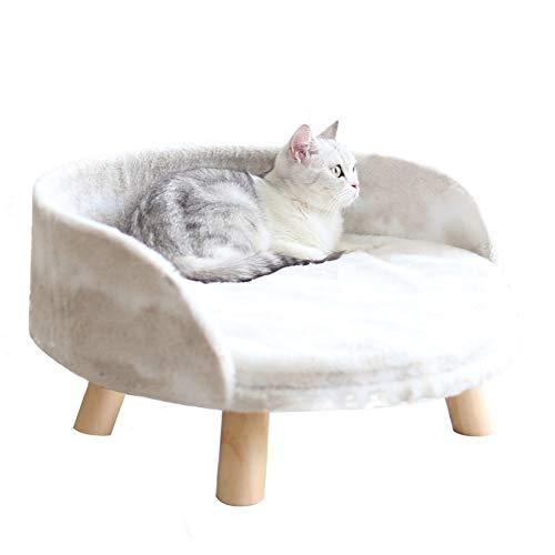 XYWBTCXK Pet Nest, Open High-Leg Pet Sofa Nest, Plush Wooden Cat And Dog Pet Supplies,L,Wooden,Milky white,M