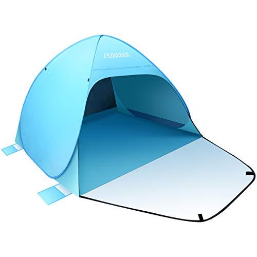 PUREBOX Strandmuschel Extra Groß Strandzelt Beach Zelt, Pop Up Sonnenschutz und Wasserdicht Outdoor Portable Wurfzelt mit Einer Abschließbaren für 2-4 Personen Blau