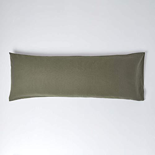 Homescapes - Funda de almohada de lino suave con textura de lino francés natural y puro 100% mezcla de algodón, 136 cm de largo, 60% lino, 40% algodón., Verde caqui., Body (19 x 54' / 48 x 136 cm)