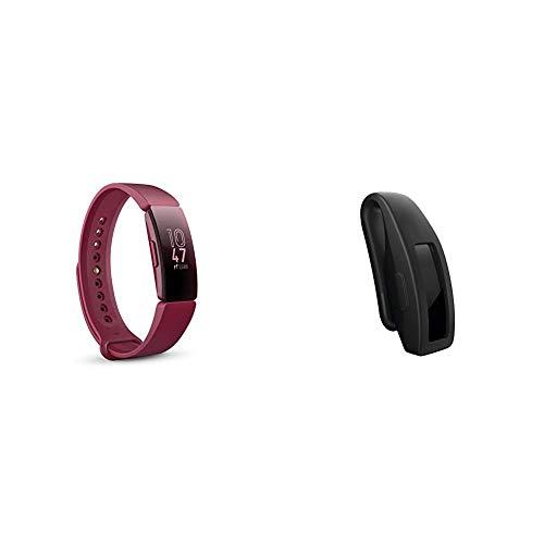 Fitbit Inspire Gesundheits- & Fitness Tracker mit automatischer Trainings Erkennung, 5 Tage Akkulaufzeit, Schlaf- & Schwimm-Tracking, Sangria & Inspire Clip