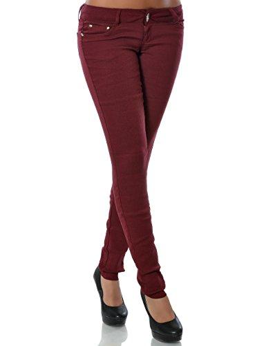 Damen Hose Treggings Skinny Röhre Stretch DA 14205 Farbe Bordeaux Größe S / 36